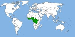 Map of African forest elephant