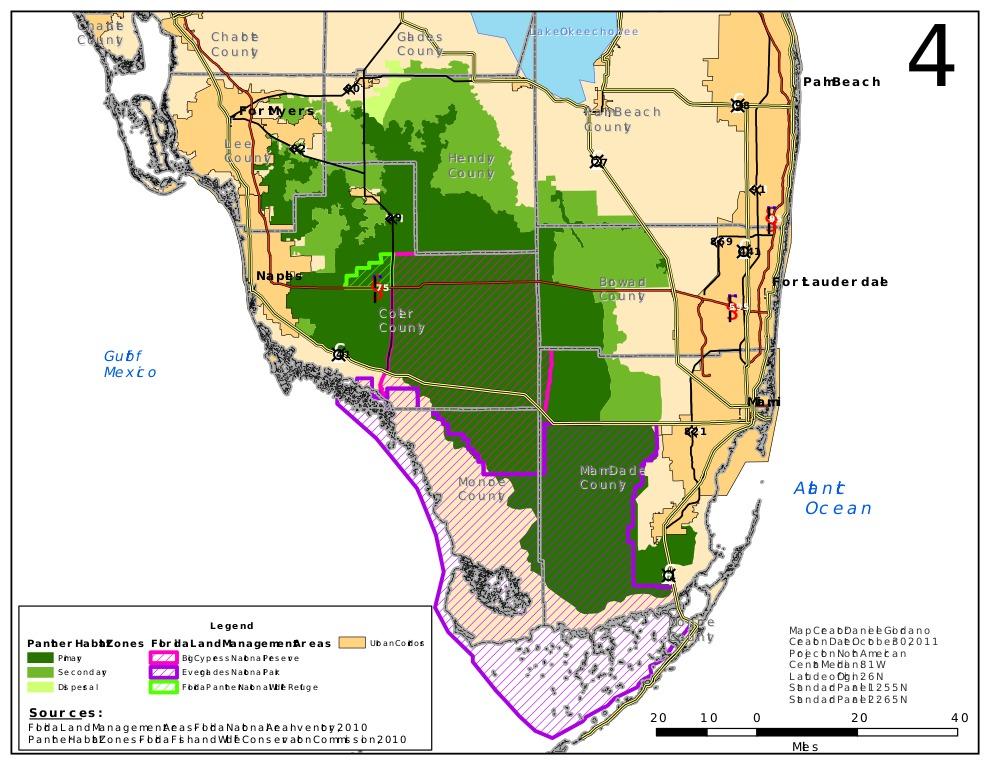 Map of <i>Puma concolor coryi</i>