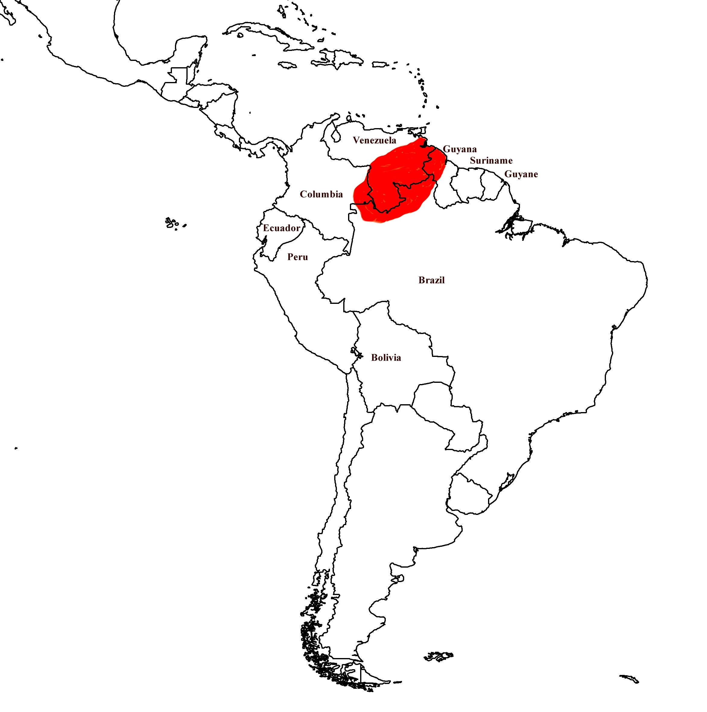 Map of Yellow-headed Poison Frog