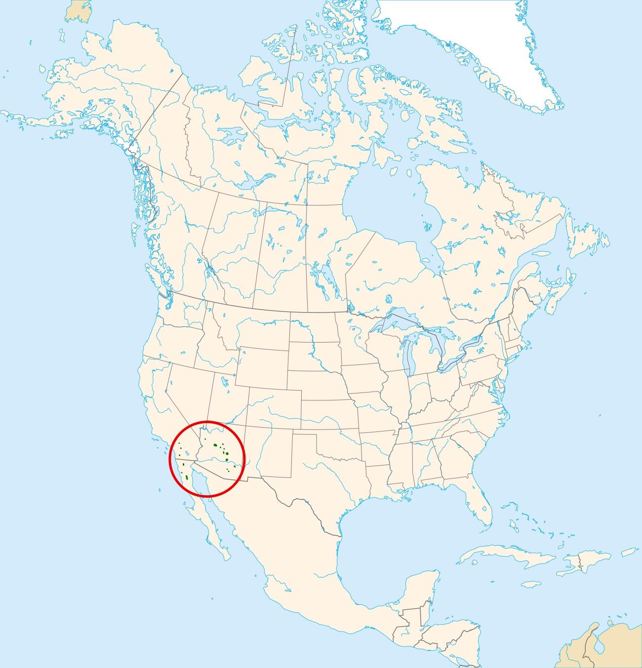 Map of pinkbract manzanita