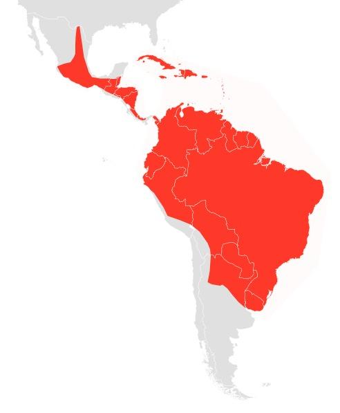 Map of Pallas's Mastiff Bat