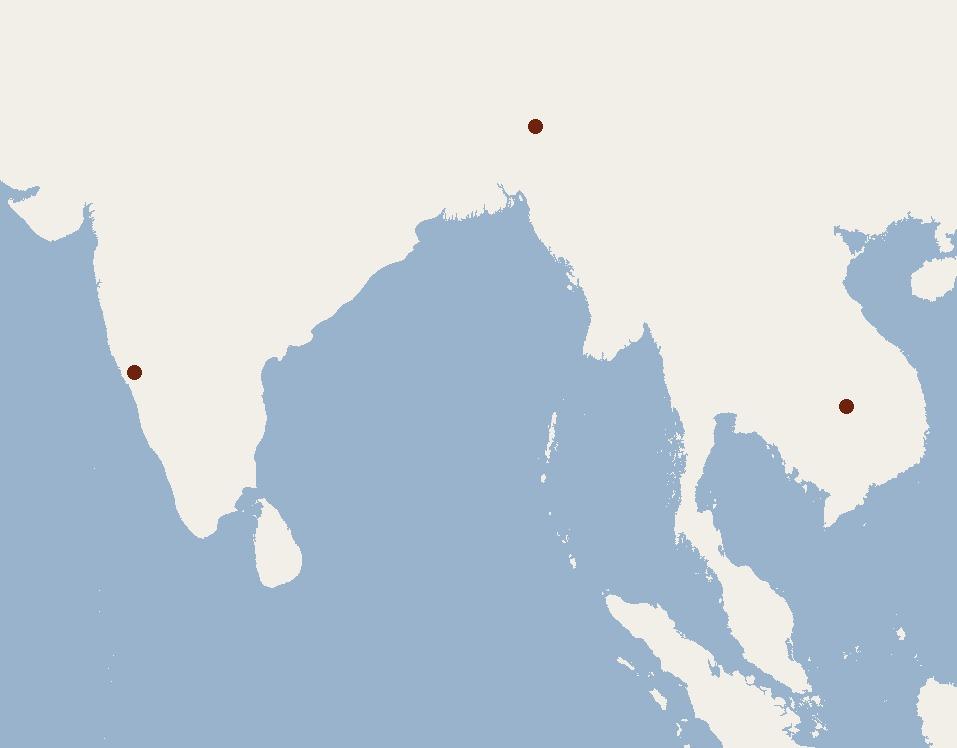 Map of Wroughton's Free-tailed Bat