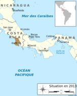 Map of Golfo dulce poison-dart frog