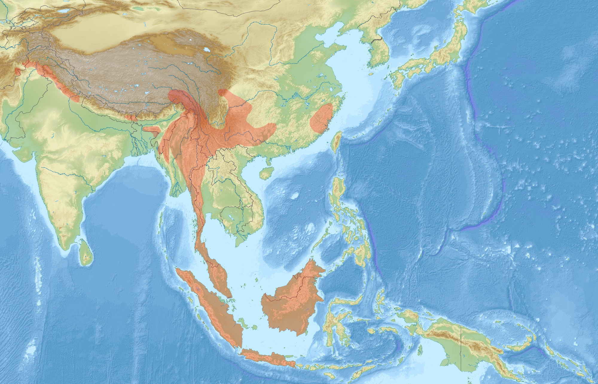 Map of Red giant flying squirrel