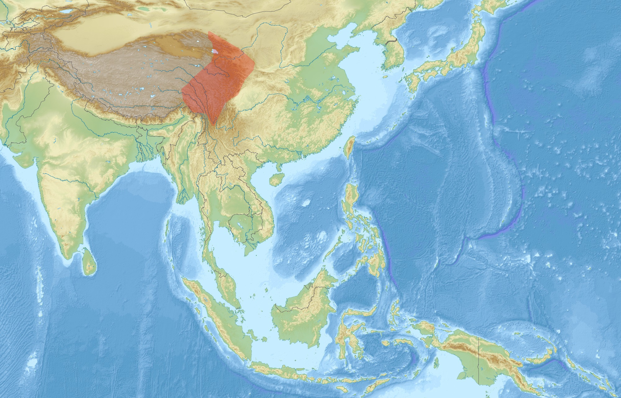 Map of Chinese Giant Flying Squirrel