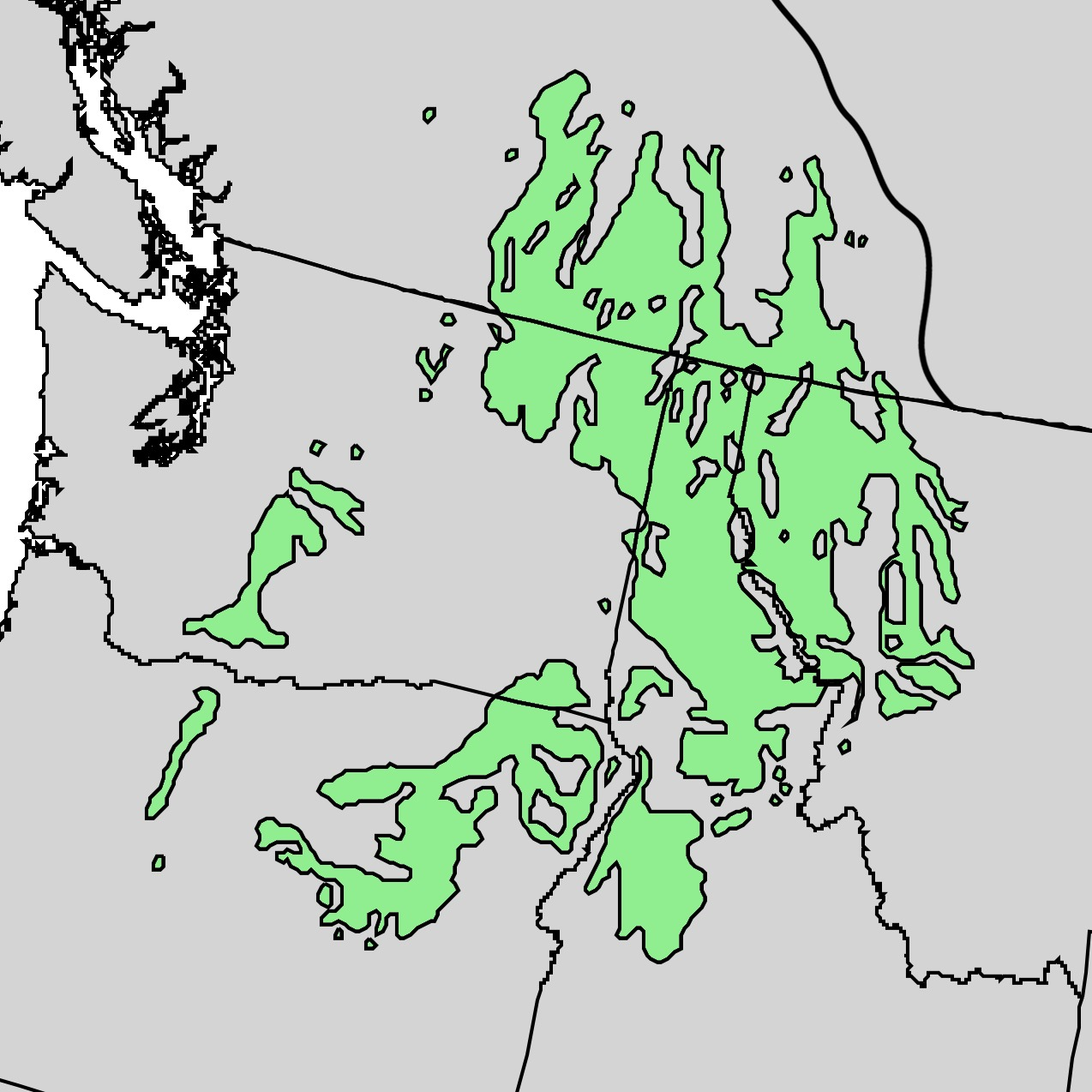 Map of western larch