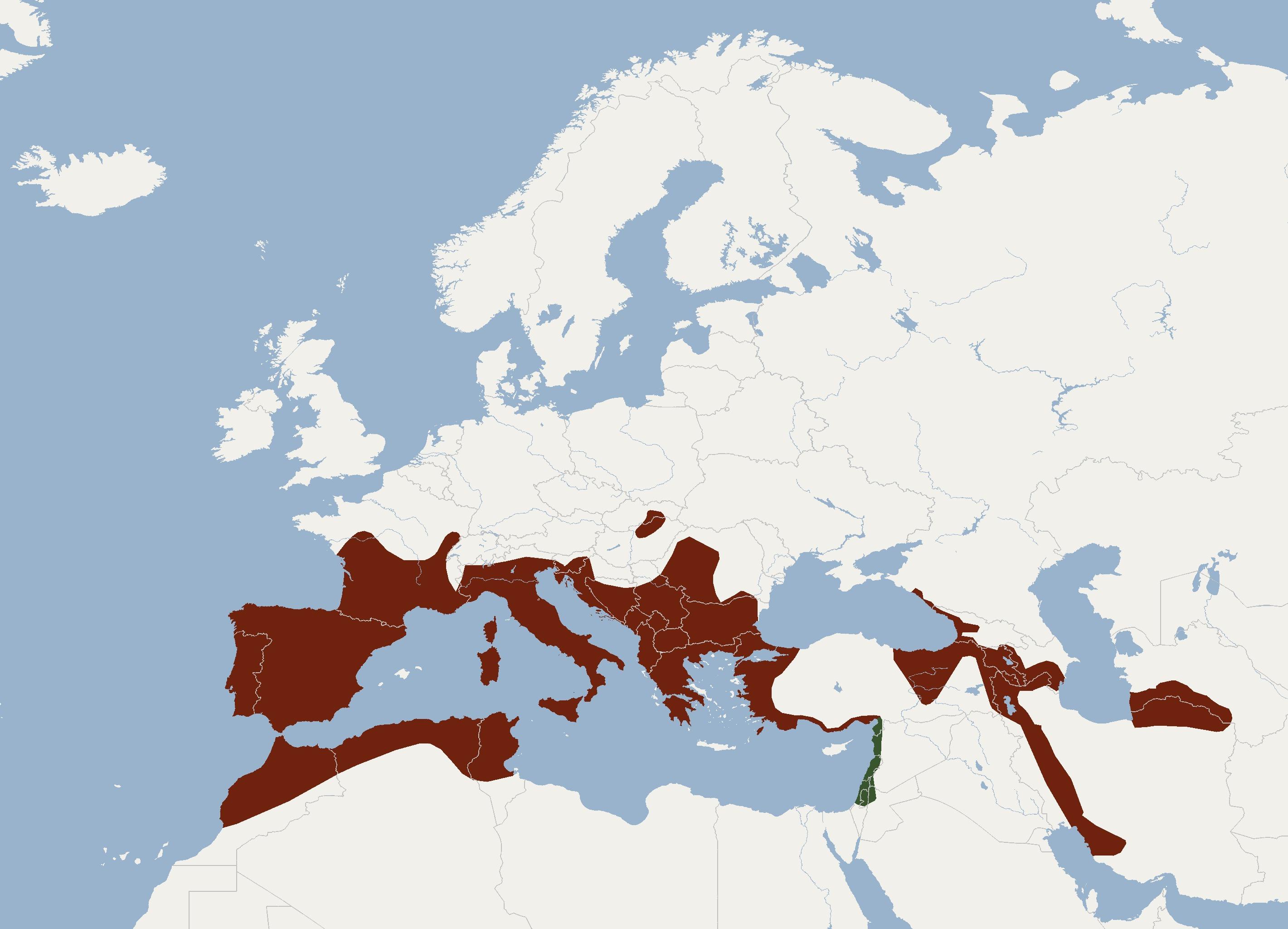 Map of Mediterranean horseshoe bat