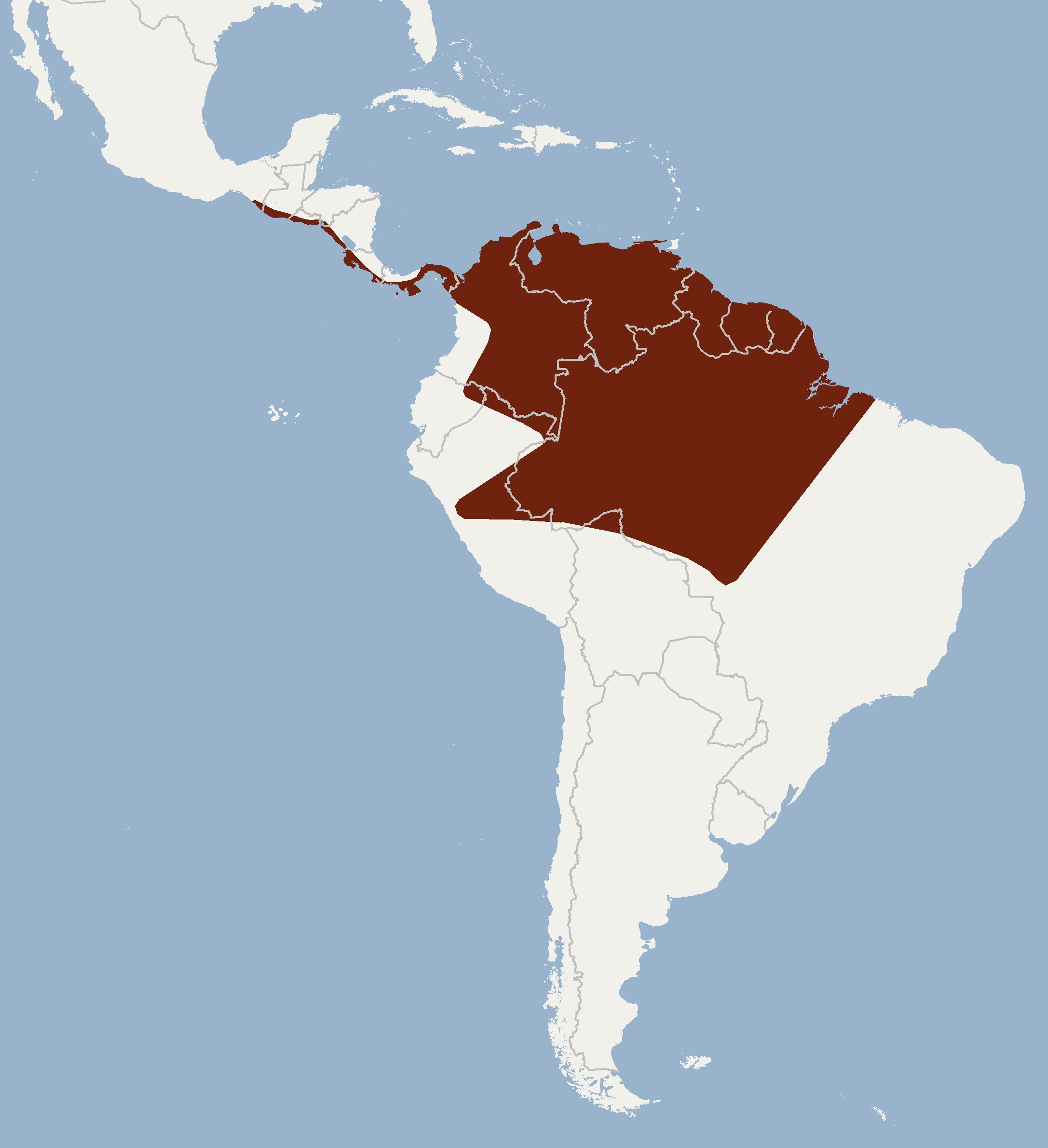 Map of Coiban Mastiff Bat