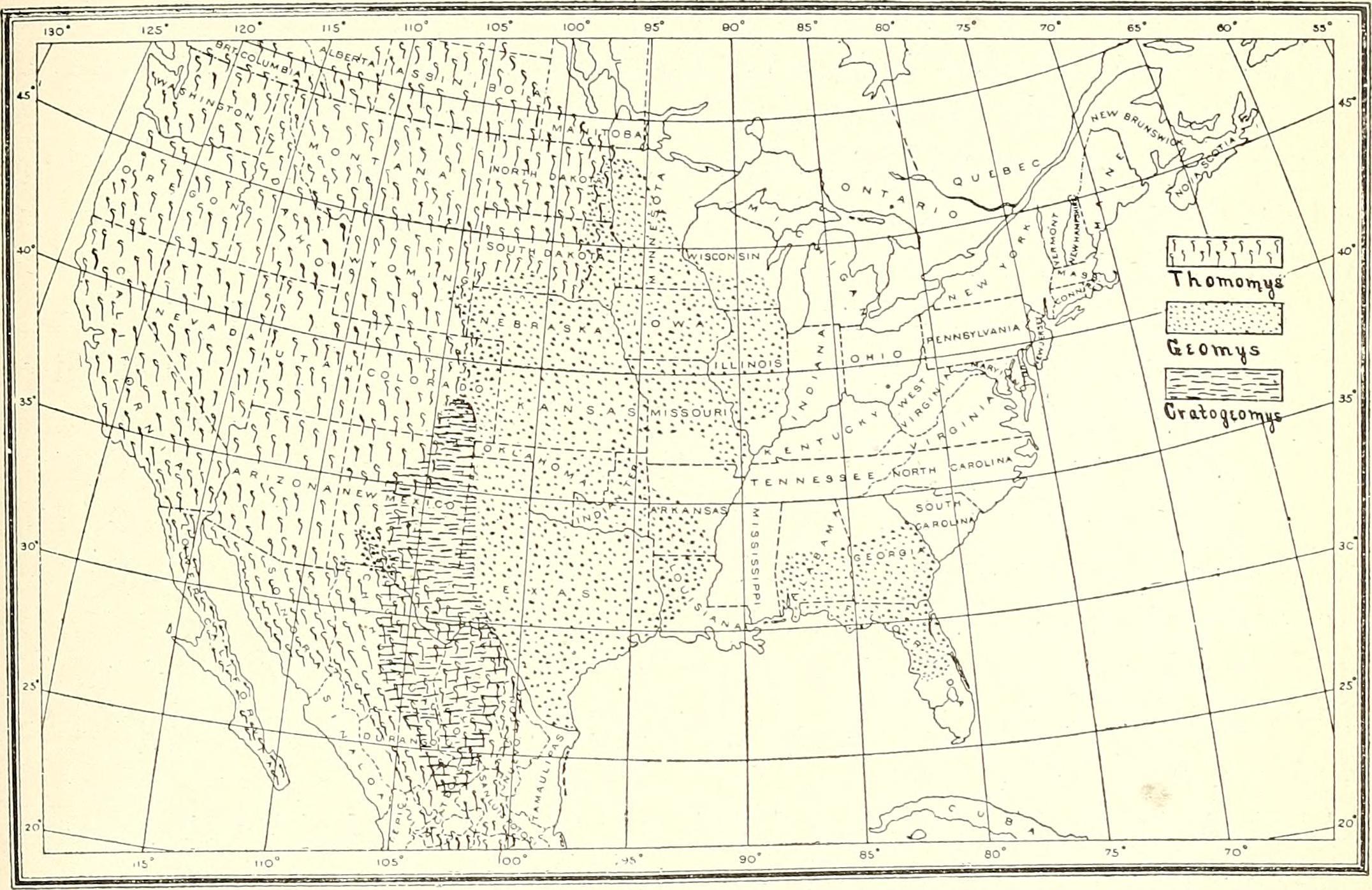 Map of pocket gopher