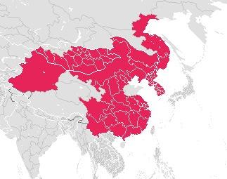 Map of Mongolian wolf