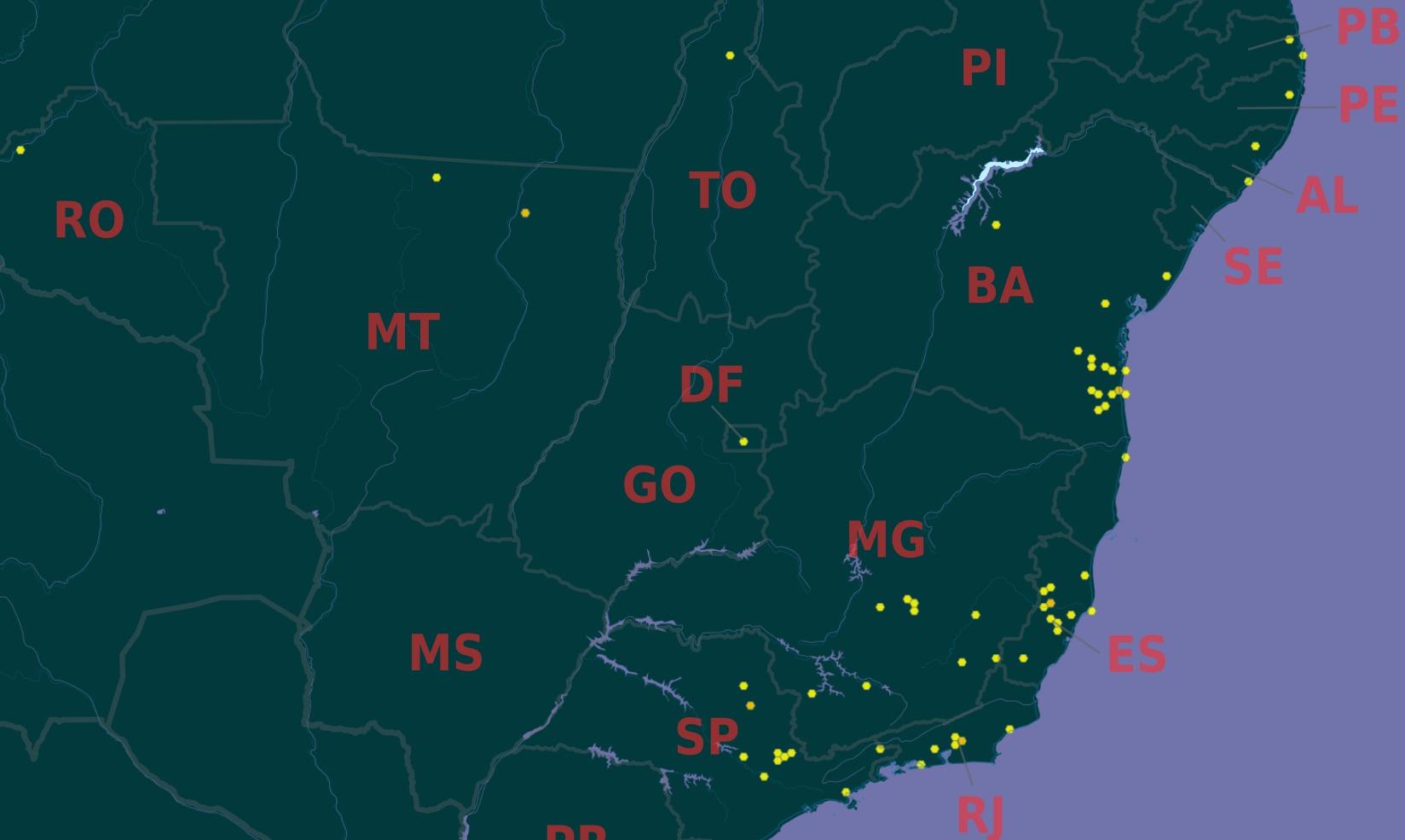 Map of <i>Cariniana legalis</i> (Mart.) Kuntze