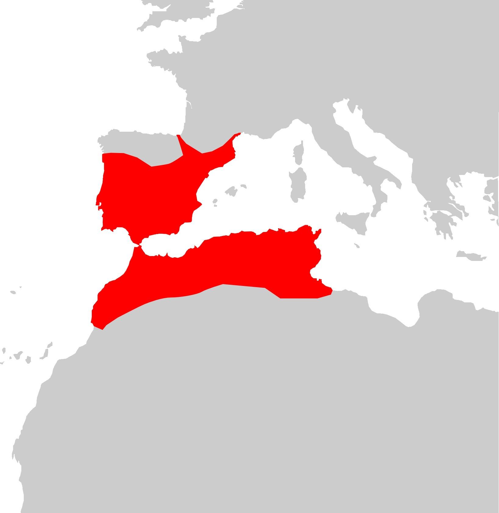 Map of Spanish pond turtle