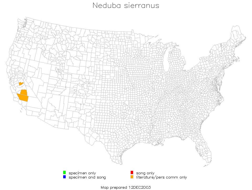 Map of Sierra Shieldback