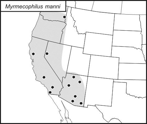 Map of Mann's Ant Cricket